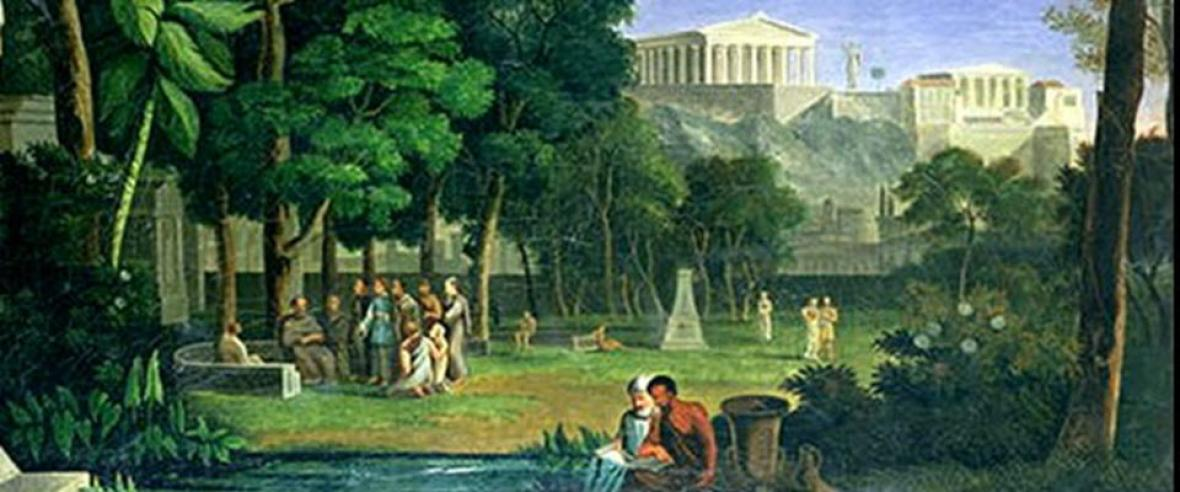 Antal Strohmayer, The Philosophers' Garden (1834), detail. Plato and his pupils in the Garden of Akademos, Athens.