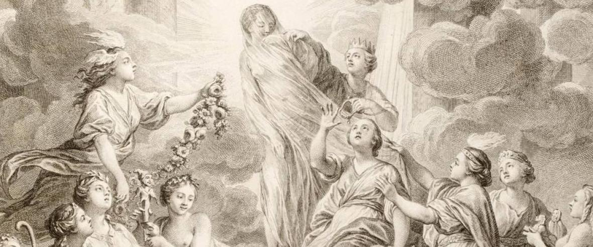 Encyclopédie of Diderot and d'Alembert, frontispiece, drawn by Charles-Nicolas Cochin and engraved by Bonaventure-Louis Prévost (1772), detail. In the centre is Aletheia, goddess of truth. On the right, Reason removes her veil. Below are Theology and Philosophy, flanked by Mnemosyne (memory) and Clio (history). On the left, Imagination adornes her. Below from centre are the muses Thalia (comedy), Calliope (epic) and Melpomene (tragedy).