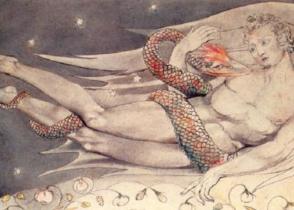 Détail de l'illustration de Blake pour Paradis Perdu, Satan regardant les caresses d'Adam et Ève (1808)