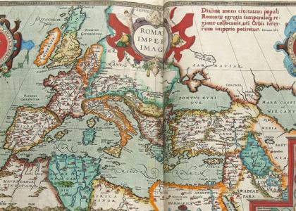 Carte de l'Empire Romain, détail de planche du Theatrum Mundi d'Ortélius (1570)