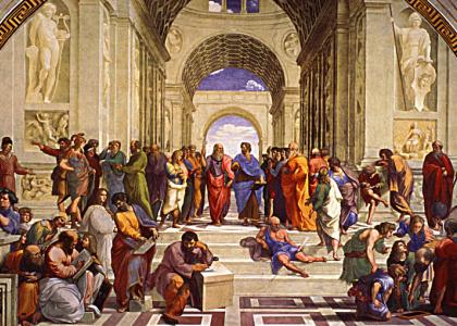 Détail de l'École d'Athènes, tableau de Raphaël (1509)